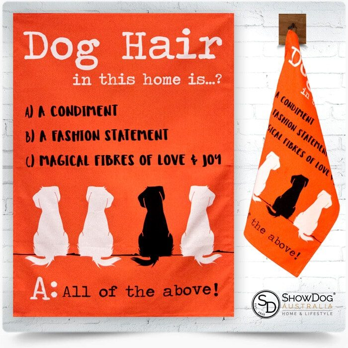 Dog Tea Towel Dog Hair Themed Kitchen Towel 2-min