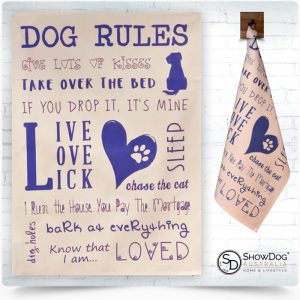 Dog Tea Towel Dog Rules Dog Themed Kitchen Towel