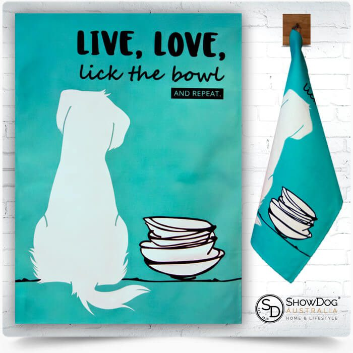 Dog Tea Towel Lick The Bowl Dog Themed Kitchen Towel