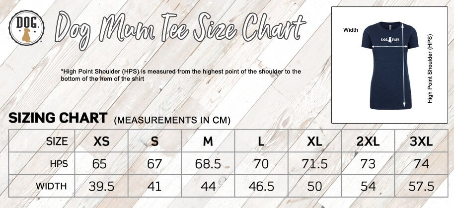 dog mum tee size guide